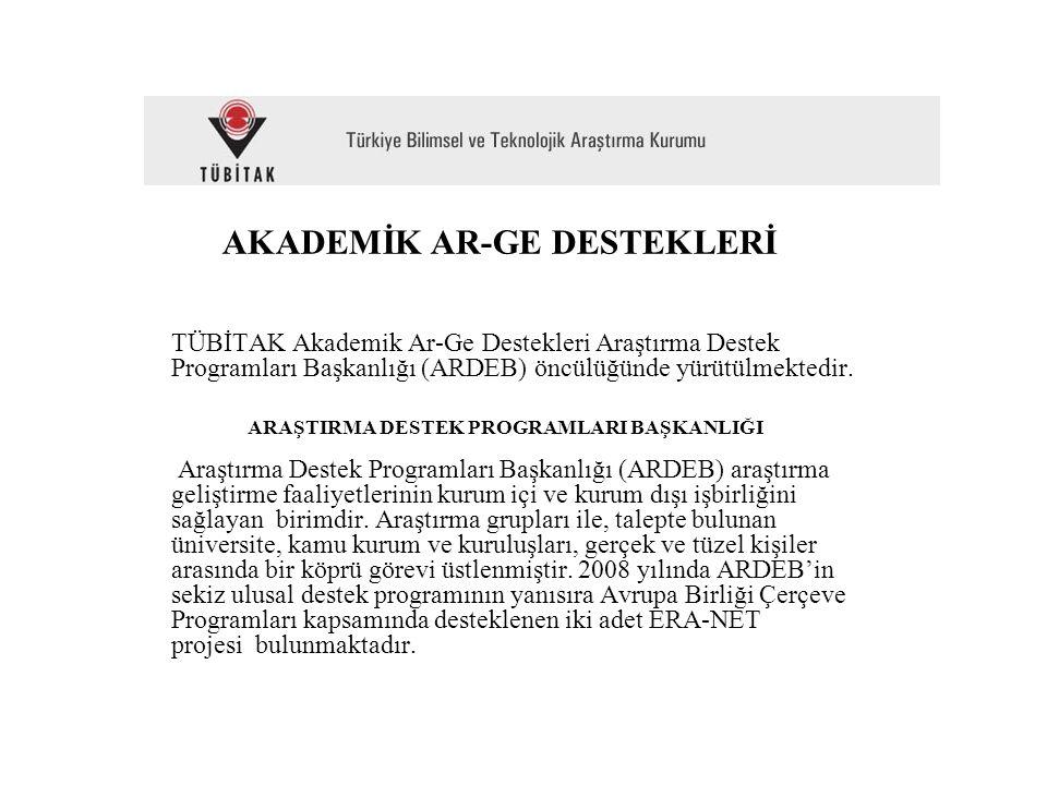 AKADEMİK AR-GE DESTEKLERİ TÜBİTAK Akademik Ar-Ge Destekleri Araştırma Destek Programları Başkanlığı (ARDEB) öncülüğünde yürütülmektedir. ARAŞTIRMA DES