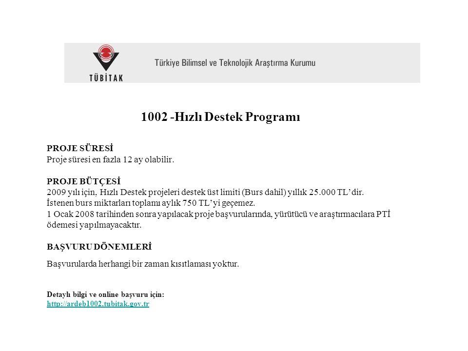 1002 -Hızlı Destek Programı PROJE SÜRESİ Proje süresi en fazla 12 ay olabilir.