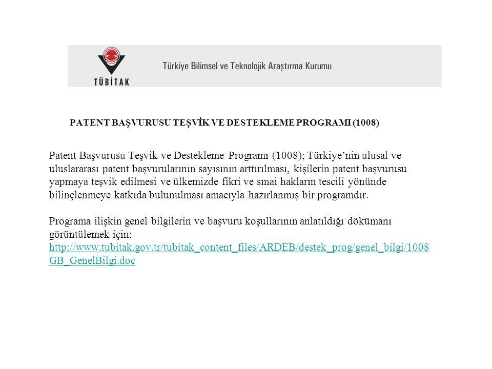 PATENT BAŞVURUSU TEŞVİK VE DESTEKLEME PROGRAMI (1008) Patent Başvurusu Teşvik ve Destekleme Programı (1008); Türkiye'nin ulusal ve uluslararası patent başvurularının sayısının arttırılması, kişilerin patent başvurusu yapmaya teşvik edilmesi ve ülkemizde fikri ve sınai hakların tescili yönünde bilinçlenmeye katkıda bulunulması amacıyla hazırlanmış bir programdır.