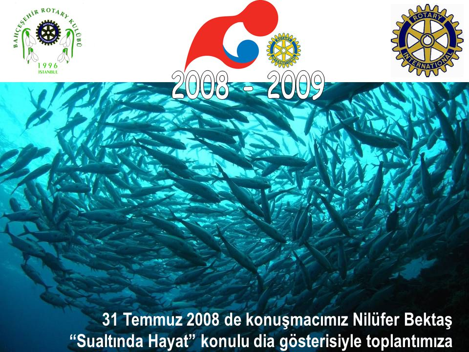 31 Temmuz 2008 de konuşmacımız Nilüfer Bektaş Sualtında Hayat konulu dia gösterisiyle toplantımıza katıldı.