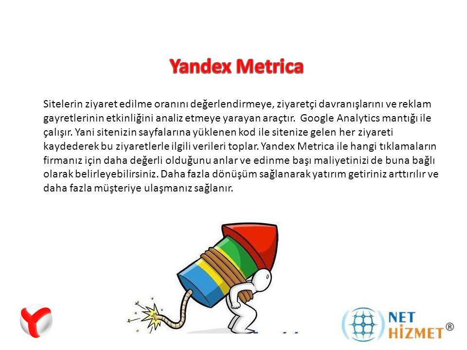 Yandex Metrica Raporları ile de reklamlarınızın tüketiciler üzerindeki genel etkisini ölçmüş, gerçek yatırım getirisini anlamış, en iyi performans gösteren reklamları belirlemiş ve buna göre hedef ve stratejilerinizi optimize etmiş olursunuz.