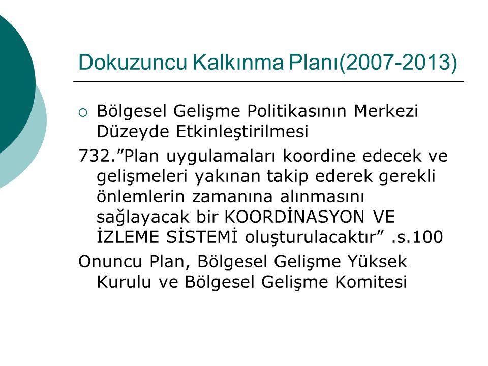 """Dokuzuncu Kalkınma Planı(2007-2013)  Bölgesel Gelişme Politikasının Merkezi Düzeyde Etkinleştirilmesi 655.""""Oluşturulan politikalara uygun kaynak tahs"""