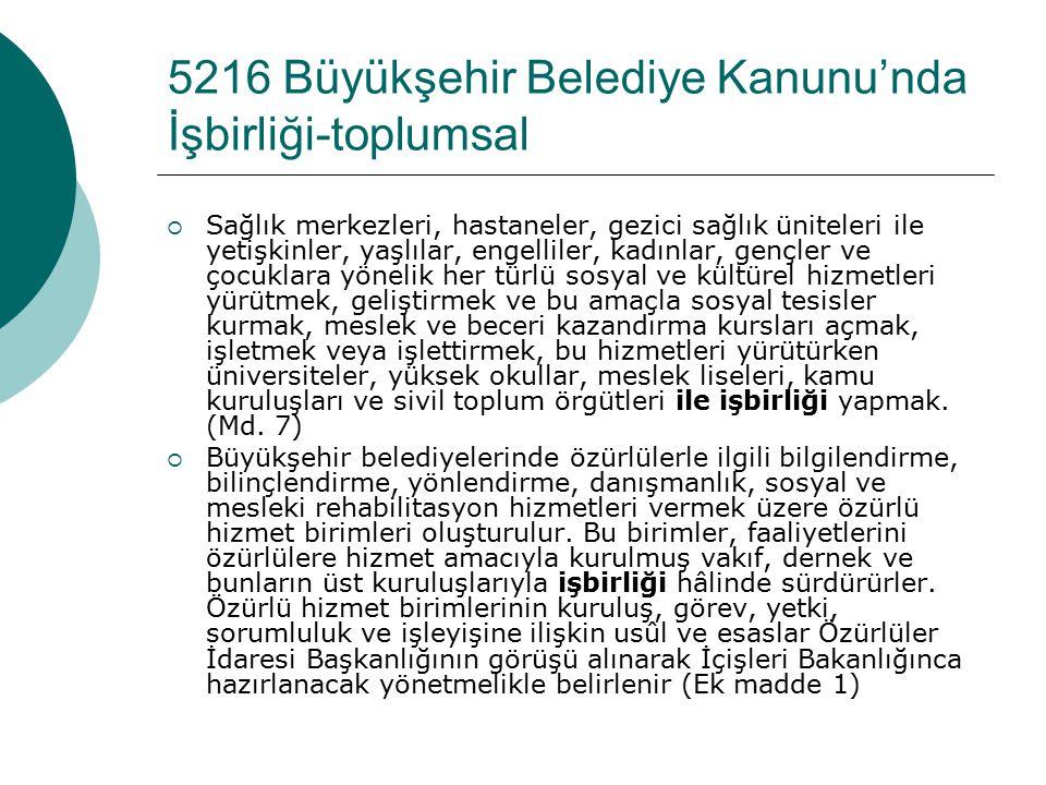 Ulaşım Hizmetleri (5216 Sayılı Kanun, Md.9)  Alt yapı koordinasyon merkezi, kamu kurum ve kuruluşları ile özel kuruluşlar tarafından büyükşehir Ulaşı