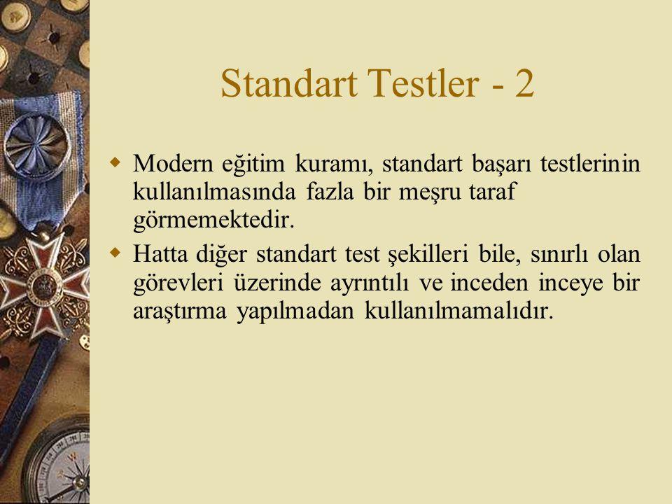 Standart Testler - 2  Modern eğitim kuramı, standart başarı testlerinin kullanılmasında fazla bir meşru taraf görmemektedir.