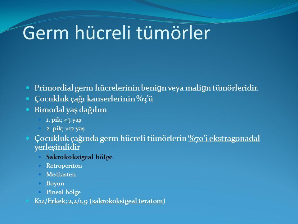 Primordial germ hücrelerinin beni g n veya mali g n tümörleridir. Çocukluk çağı kanserlerinin %3'ü Bimodal yaş dağılım 1. pik; <3 yaş 2. pik; >12 yaş