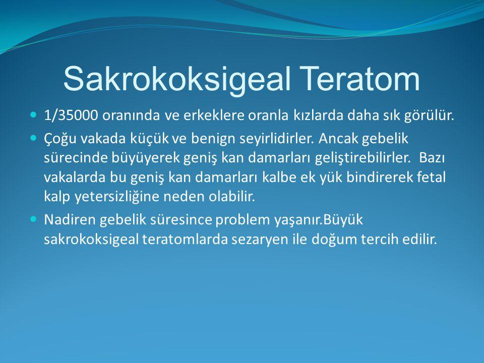 Sakrokoksigeal Teratom 1/35000 oranında ve erkeklere oranla kızlarda daha sık görülür. Çoğu vakada küçük ve benign seyirlidirler. Ancak gebelik süreci
