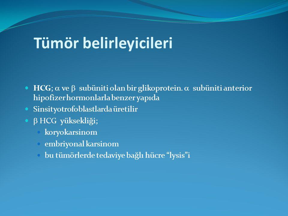 Tümör belirleyicileri HCG;  ve  subüniti olan bir glikoprotein.  subüniti anterior hipofizer hormonlarla benzer yapıda Sinsityotrofoblastlarda üret