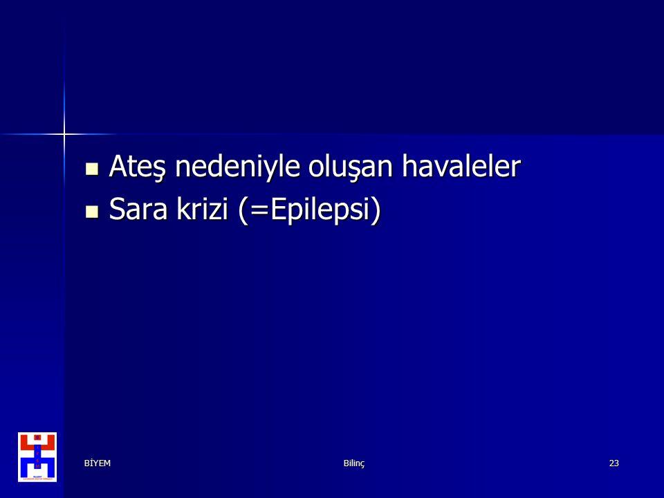 BİYEMBilinç23 Ateş nedeniyle oluşan havaleler Ateş nedeniyle oluşan havaleler Sara krizi (=Epilepsi) Sara krizi (=Epilepsi)