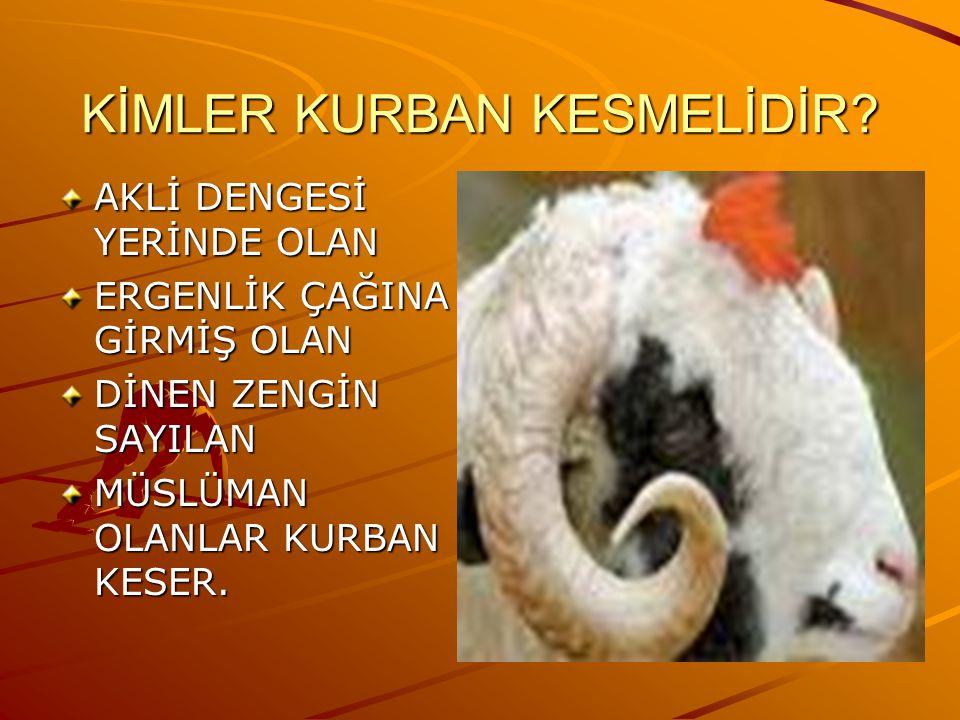 KİMLER KURBAN KESMELİDİR.