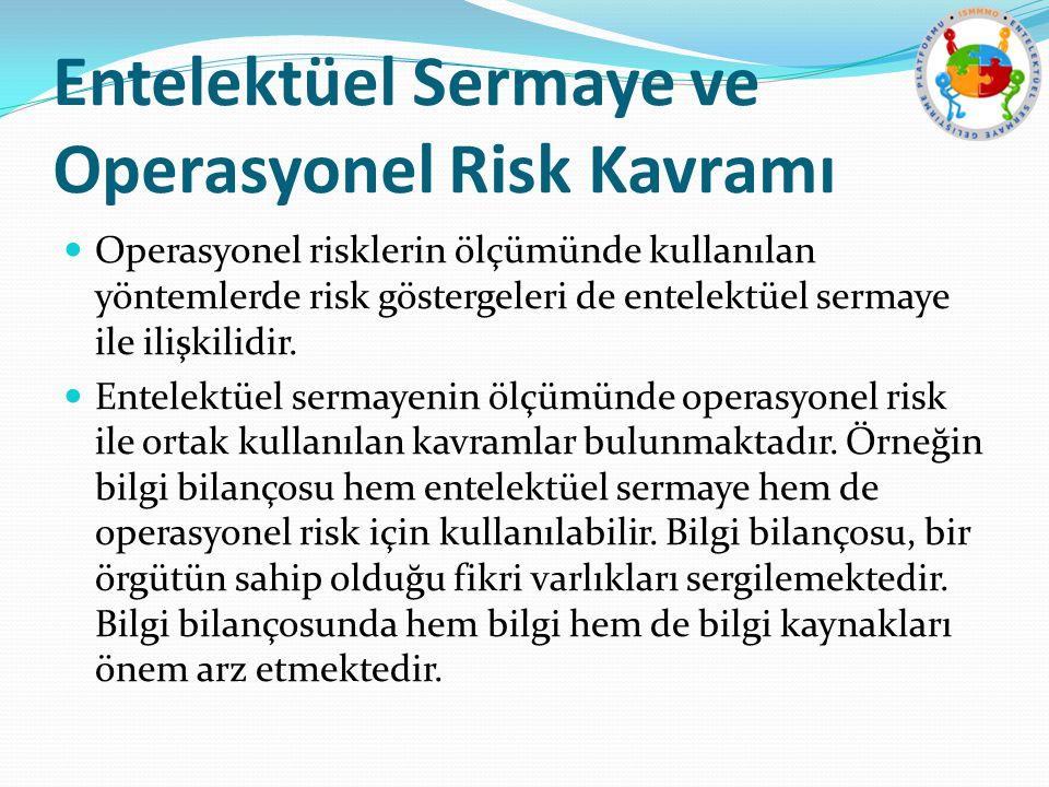 Entelektüel Sermaye ve Operasyonel Risk Kavramı Operasyonel risklerin ölçümünde kullanılan yöntemlerde risk göstergeleri de entelektüel sermaye ile il
