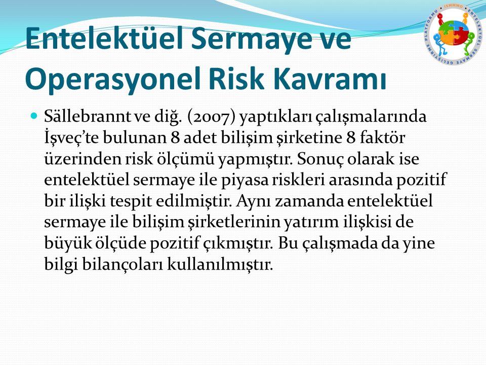 Entelektüel Sermaye ve Operasyonel Risk Kavramı Sällebrannt ve diğ. (2007) yaptıkları çalışmalarında İşveç'te bulunan 8 adet bilişim şirketine 8 faktö