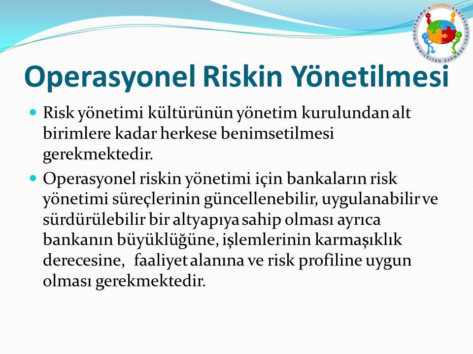 Operasyonel Riskin Yönetilmesi Risk yönetimi kültürünün yönetim kurulundan alt birimlere kadar herkese benimsetilmesi gerekmektedir. Operasyonel riski