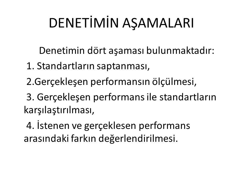 DENETİMİN AŞAMALARI Denetimin dört aşaması bulunmaktadır: 1. Standartların saptanması, 2.Gerçekleşen performansın ölçülmesi, 3. Gerçekleşen performans