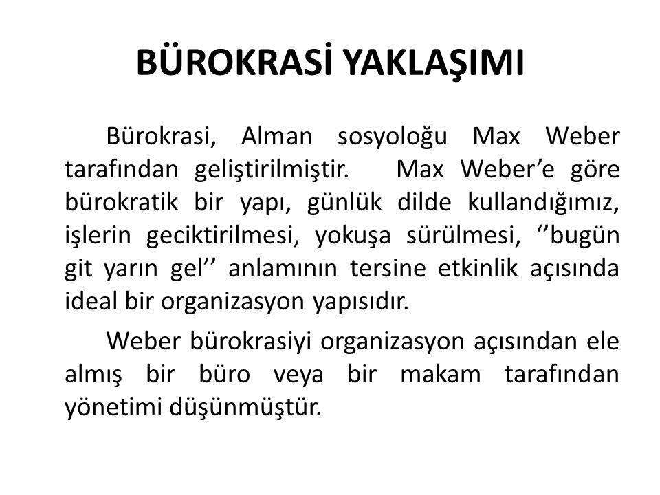 BÜROKRASİ YAKLAŞIMI Bürokrasi, Alman sosyoloğu Max Weber tarafından geliştirilmiştir. Max Weber'e göre bürokratik bir yapı, günlük dilde kullandığımız