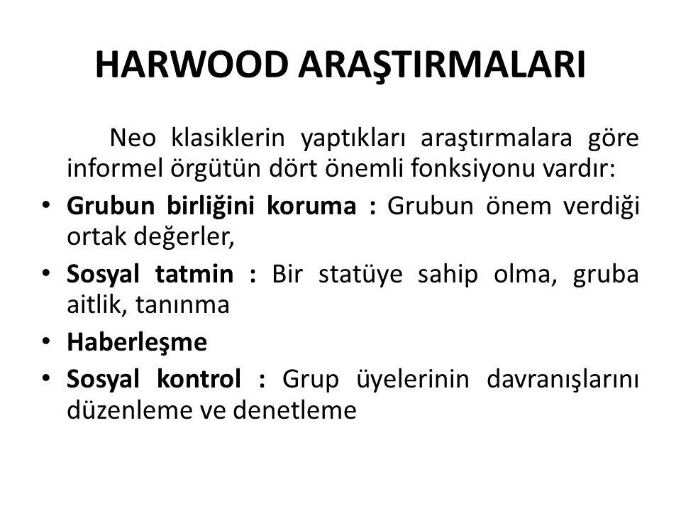 HARWOOD ARAŞTIRMALARI Neo klasiklerin yaptıkları araştırmalara göre informel örgütün dört önemli fonksiyonu vardır: Grubun birliğini koruma : Grubun önem verdiği ortak değerler, Sosyal tatmin : Bir statüye sahip olma, gruba aitlik, tanınma Haberleşme Sosyal kontrol : Grup üyelerinin davranışlarını düzenleme ve denetleme