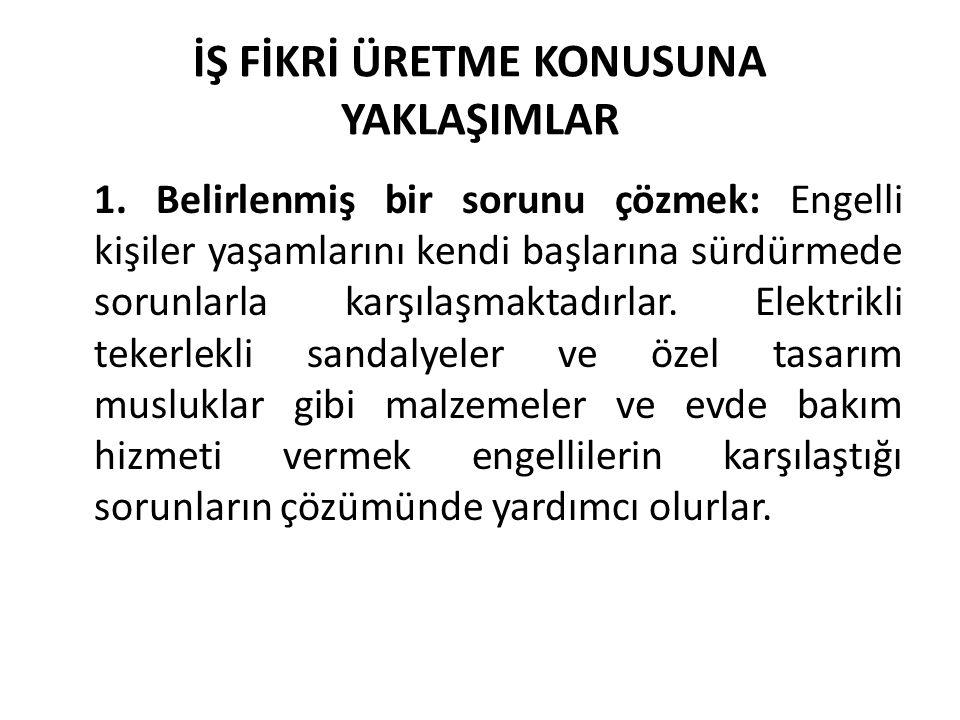 İŞ FİKRİ ÜRETME KONUSUNA YAKLAŞIMLAR 1.