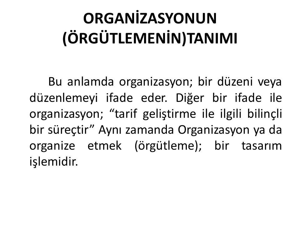 """ORGANİZASYONUN (ÖRGÜTLEMENİN)TANIMI Bu anlamda organizasyon; bir düzeni veya düzenlemeyi ifade eder. Diğer bir ifade ile organizasyon; """"tarif geliştir"""