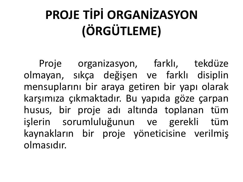 PROJE TİPİ ORGANİZASYON (ÖRGÜTLEME) Proje organizasyon, farklı, tekdüze olmayan, sıkça değişen ve farklı disiplin mensuplarını bir araya getiren bir yapı olarak karşımıza çıkmaktadır.