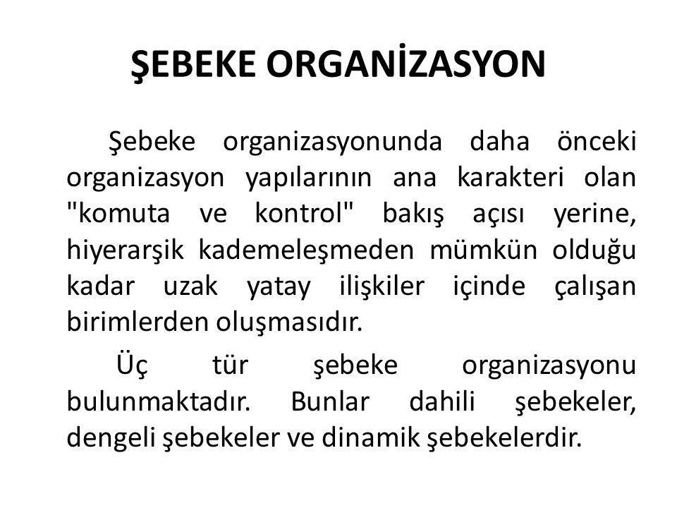 ŞEBEKE ORGANİZASYON Şebeke organizasyonunda daha önceki organizasyon yapılarının ana karakteri olan