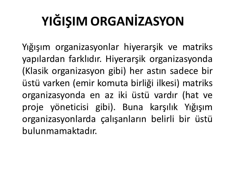 YIĞIŞIM ORGANİZASYON Yığışım organizasyonlar hiyerarşik ve matriks yapılardan farklıdır. Hiyerarşik organizasyonda (Klasik organizasyon gibi) her astı