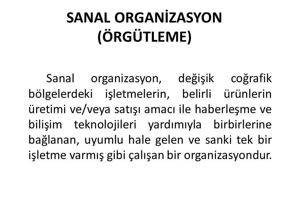 SANAL ORGANİZASYON (ÖRGÜTLEME) Sanal organizasyon, değişik coğrafik bölgelerdeki işletmelerin, belirli ürünlerin üretimi ve/veya satışı amacı ile haberleşme ve bilişim teknolojileri yardımıyla birbirlerine bağlanan, uyumlu hale gelen ve sanki tek bir işletme varmış gibi çalışan bir organizasyondur.