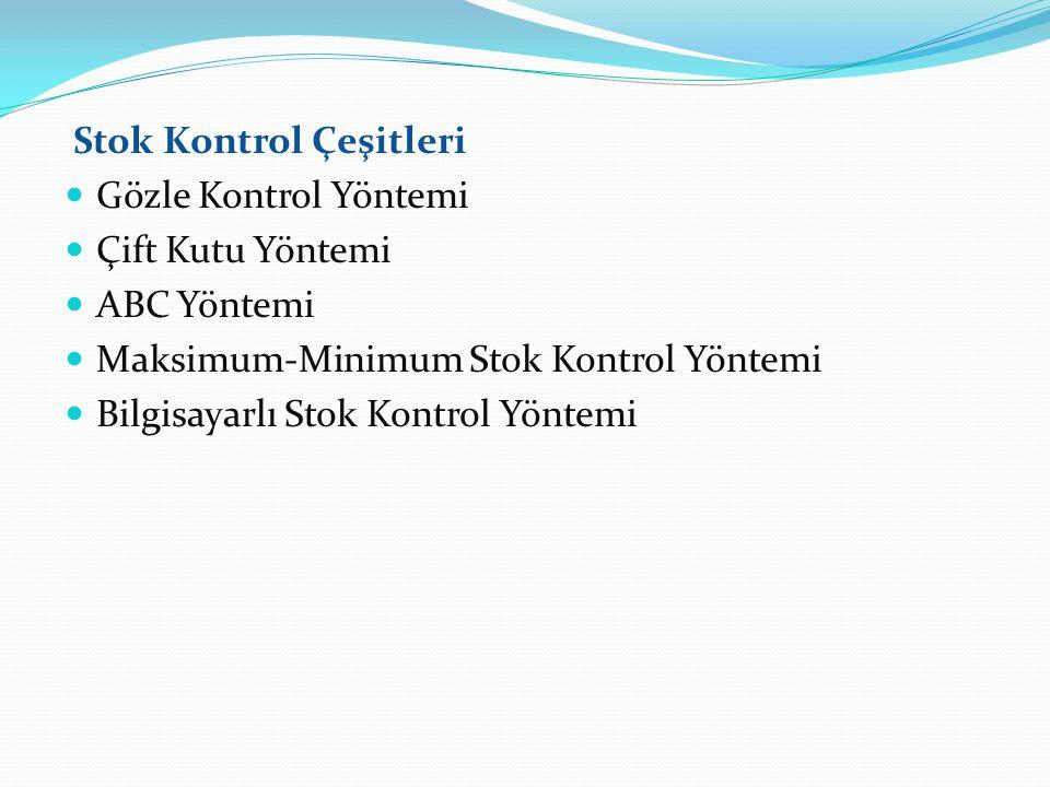 Stok Kontrol Çeşitleri Gözle Kontrol Yöntemi Çift Kutu Yöntemi ABC Yöntemi Maksimum-Minimum Stok Kontrol Yöntemi Bilgisayarlı Stok Kontrol Yöntemi