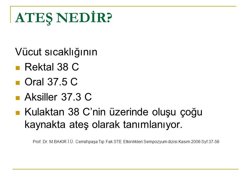 ATEŞ NEDİR? Vücut sıcaklığının Rektal 38 C Oral 37.5 C Aksiller 37.3 C Kulaktan 38 C'nin üzerinde oluşu çoğu kaynakta ateş olarak tanımlanıyor. Prof.