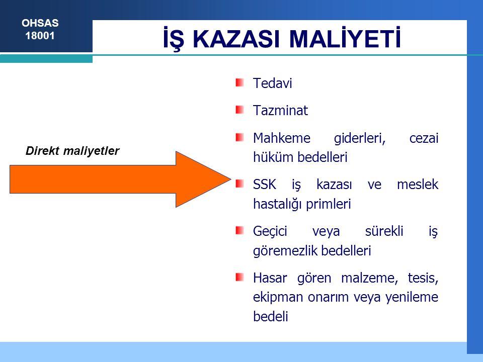 OHSAS 18001 İŞ KAZASI MALİYETİ Direkt maliyetler Tedavi Tazminat Mahkeme giderleri, cezai hüküm bedelleri SSK iş kazası ve meslek hastalığı primleri G