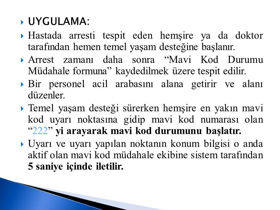 """ UYGULAMA:  Hastada arresti tespit eden hemşire ya da doktor tarafından hemen temel yaşam desteğine başlanır.  Arrest zamanı daha sonra """"Mavi Kod D"""