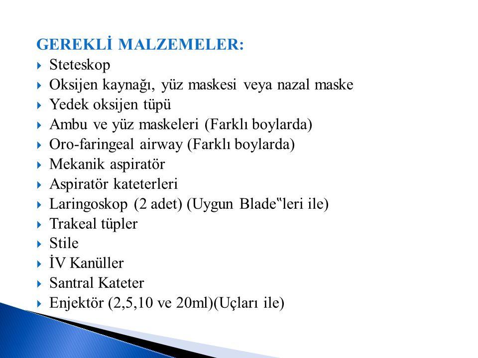 GEREKLİ MALZEMELER:  Steteskop  Oksijen kaynağı, yüz maskesi veya nazal maske  Yedek oksijen tüpü  Ambu ve yüz maskeleri (Farklı boylarda)  Oro-f