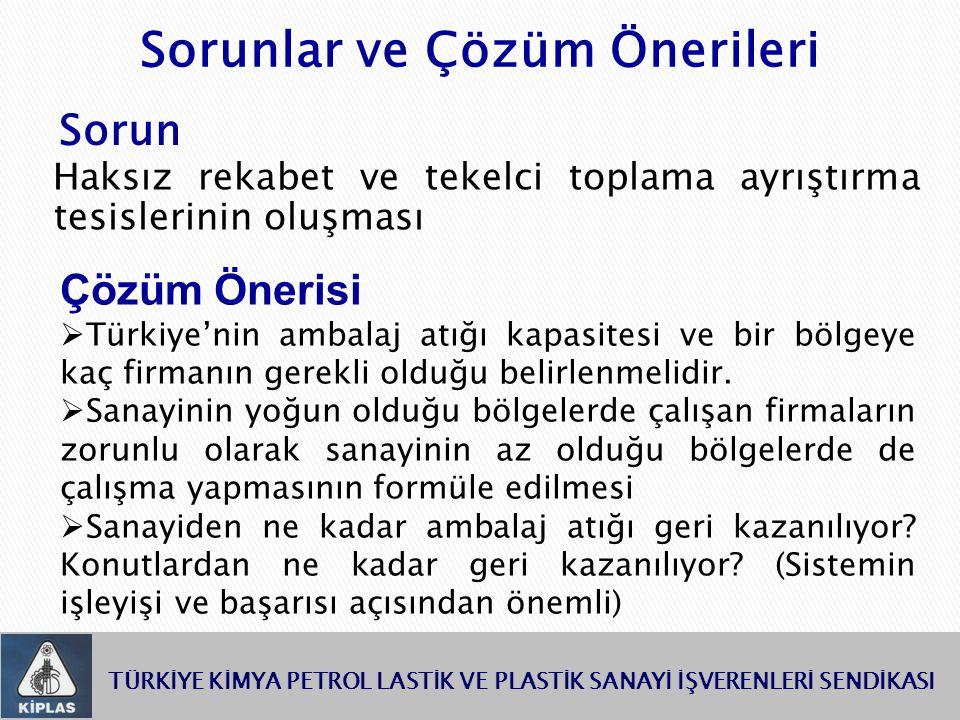 TÜRKİYE KİMYA PETROL LASTİK VE PLASTİK SANAYİ İŞVERENLERİ SENDİKASI Haksız rekabet ve tekelci toplama ayrıştırma tesislerinin oluşması Çözüm Önerisi  Türkiye'nin ambalaj atığı kapasitesi ve bir bölgeye kaç firmanın gerekli olduğu belirlenmelidir.