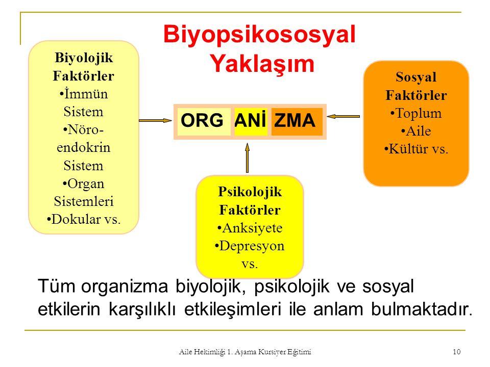 Aile Hekimliği 1. Aşama Kursiyer Eğitimi 10 Biyopsikososyal Yaklaşım Psikolojik Faktörler Anksiyete Depresyon vs. Biyolojik Faktörler İmmün Sistem Nör