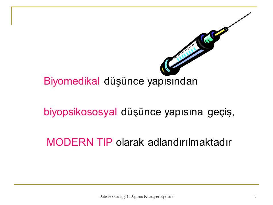 Aile Hekimliği 1. Aşama Kursiyer Eğitimi 7 Biyomedikal düşünce yapısından biyopsikososyal düşünce yapısına geçiş, MODERN TIP olarak adlandırılmaktadır