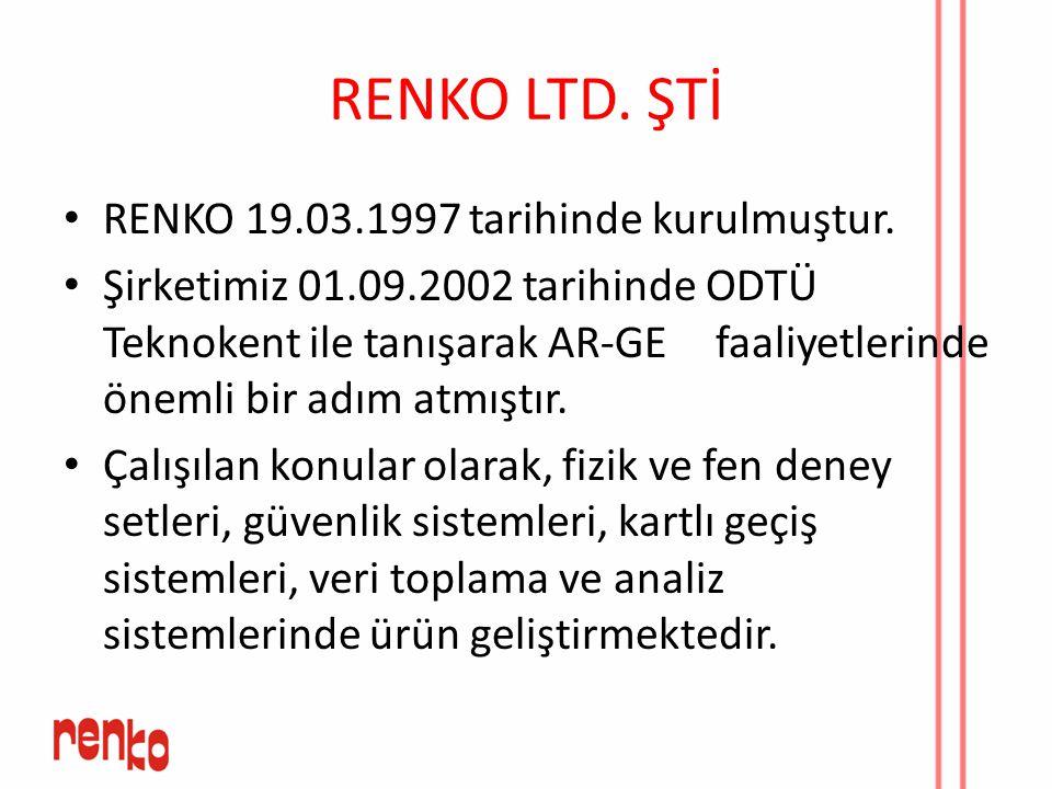RENKO LTD. ŞTİ RENKO 19.03.1997 tarihinde kurulmuştur. Şirketimiz 01.09.2002 tarihinde ODTÜ Teknokent ile tanışarak AR-GE faaliyetlerinde önemli bir a