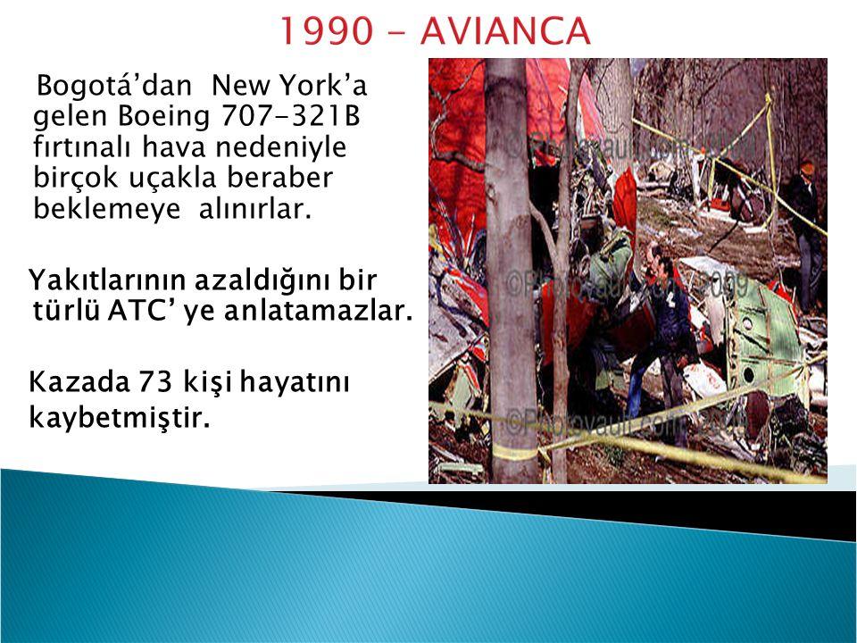Bogotá'dan New York'a gelen Boeing 707-321B fırtınalı hava nedeniyle birçok uçakla beraber beklemeye alınırlar. Yakıtlarının azaldığını bir türlü ATC'
