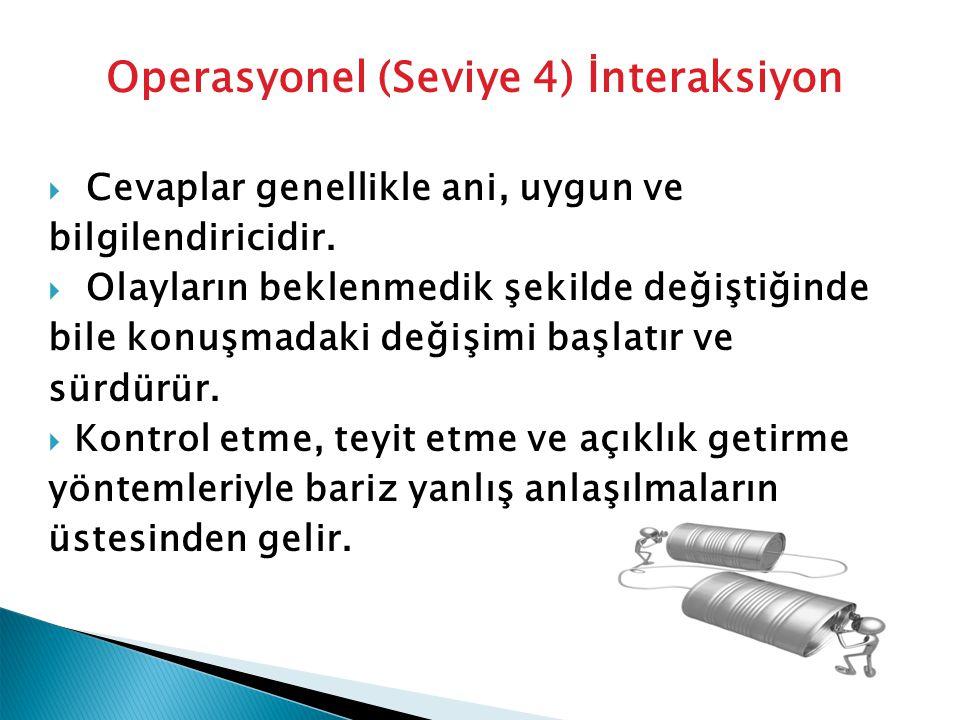 Operasyonel (Seviye 4) İnteraksiyon  Cevaplar genellikle ani, uygun ve bilgilendiricidir.  Olayların beklenmedik şekilde değiştiğinde bile konuşmada