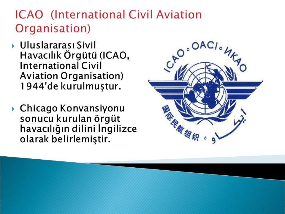  Uluslararası Sivil Havacılık Örgütü (ICAO, International Civil Aviation Organisation) 1944'de kurulmuştur.  Chicago Konvansiyonu sonucu kurulan örg