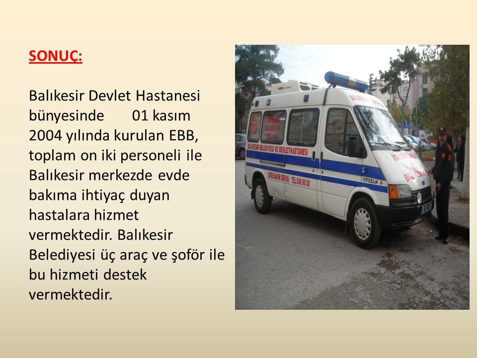 SONUÇ: Balıkesir Devlet Hastanesi bünyesinde 01 kasım 2004 yılında kurulan EBB, toplam on iki personeli ile Balıkesir merkezde evde bakıma ihtiyaç duyan hastalara hizmet vermektedir.