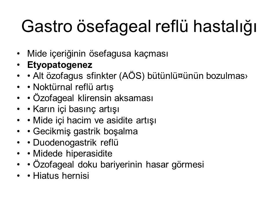 Gastro ösefageal reflü hastalığı Mide içeriğinin ösefagusa kaçması Etyopatogenez Alt özofagus sfinkter (AÖS) bütünlü¤ünün bozulmas› Noktürnal reflü ar