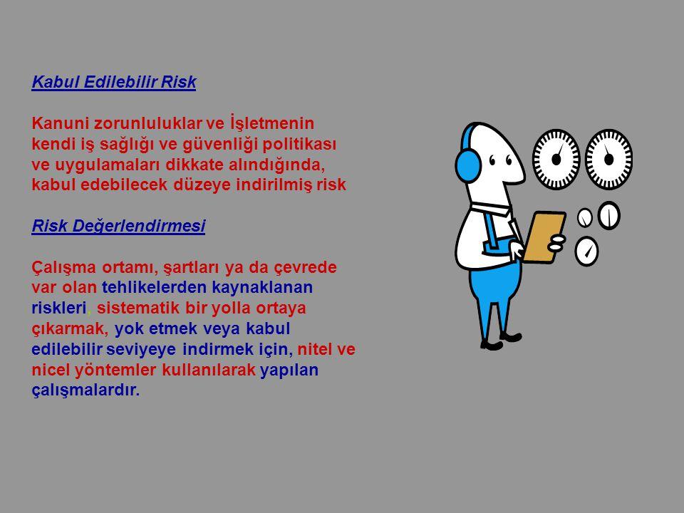 Kabul Edilebilir Risk Kanuni zorunluluklar ve İşletmenin kendi iş sağlığı ve güvenliği politikası ve uygulamaları dikkate alındığında, kabul edebilecek düzeye indirilmiş risk Risk Değerlendirmesi Çalışma ortamı, şartları ya da çevrede var olan tehlikelerden kaynaklanan riskleri, sistematik bir yolla ortaya çıkarmak, yok etmek veya kabul edilebilir seviyeye indirmek için, nitel ve nicel yöntemler kullanılarak yapılan çalışmalardır.