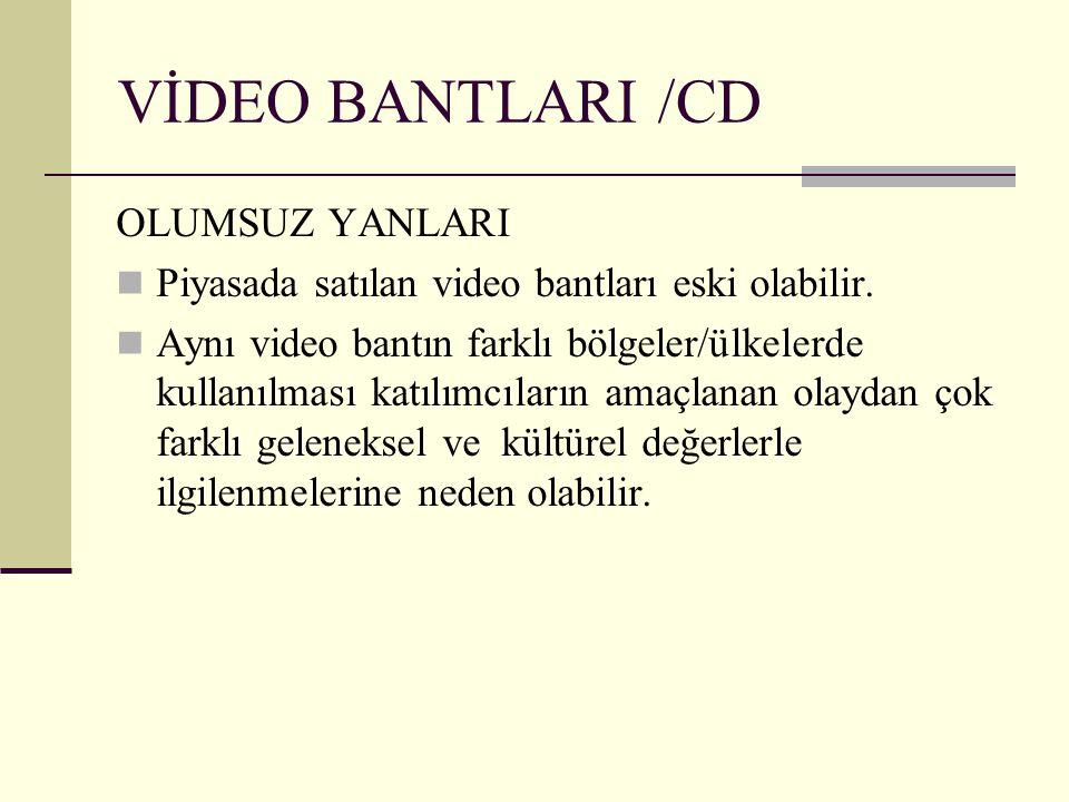 VİDEO BANTLARI /CD OLUMSUZ YANLARI Piyasada satılan video bantları eski olabilir. Aynı video bantın farklı bölgeler/ülkelerde kullanılması katılımcıla