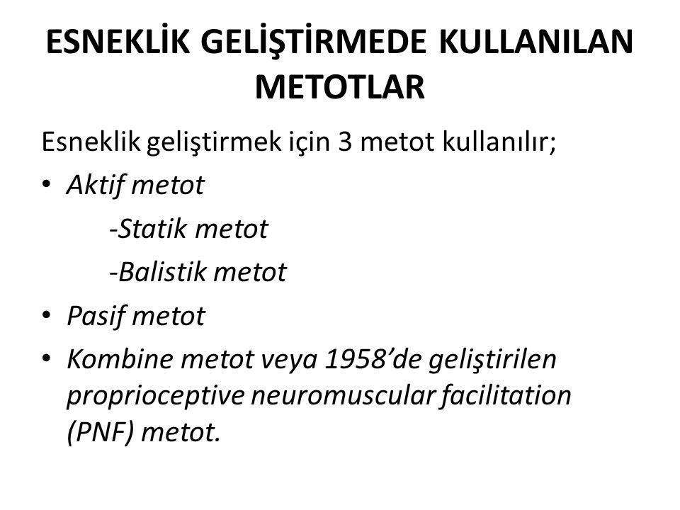 ESNEKLİK GELİŞTİRMEDE KULLANILAN METOTLAR Esneklik geliştirmek için 3 metot kullanılır; Aktif metot -Statik metot -Balistik metot Pasif metot Kombine metot veya 1958'de geliştirilen proprioceptive neuromuscular facilitation (PNF) metot.