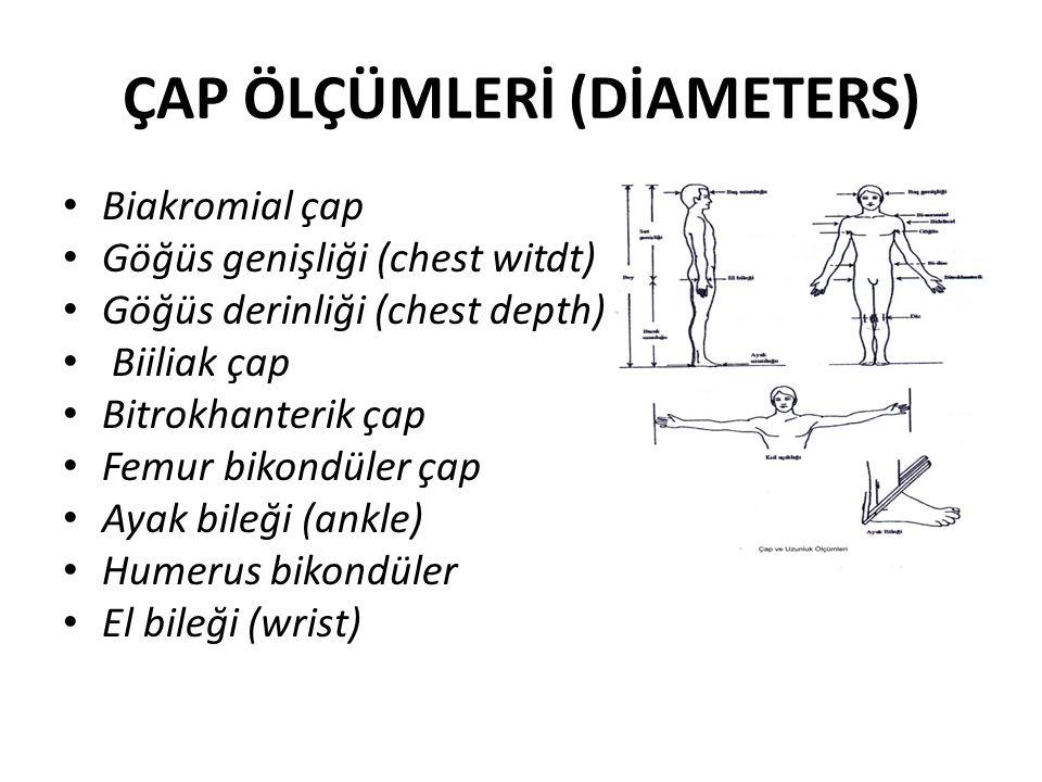 ÇAP ÖLÇÜMLERİ (DİAMETERS) Biakromial çap Göğüs genişliği (chest witdt) Göğüs derinliği (chest depth) Biiliak çap Bitrokhanterik çap Femur bikondüler çap Ayak bileği (ankle) Humerus bikondüler El bileği (wrist)