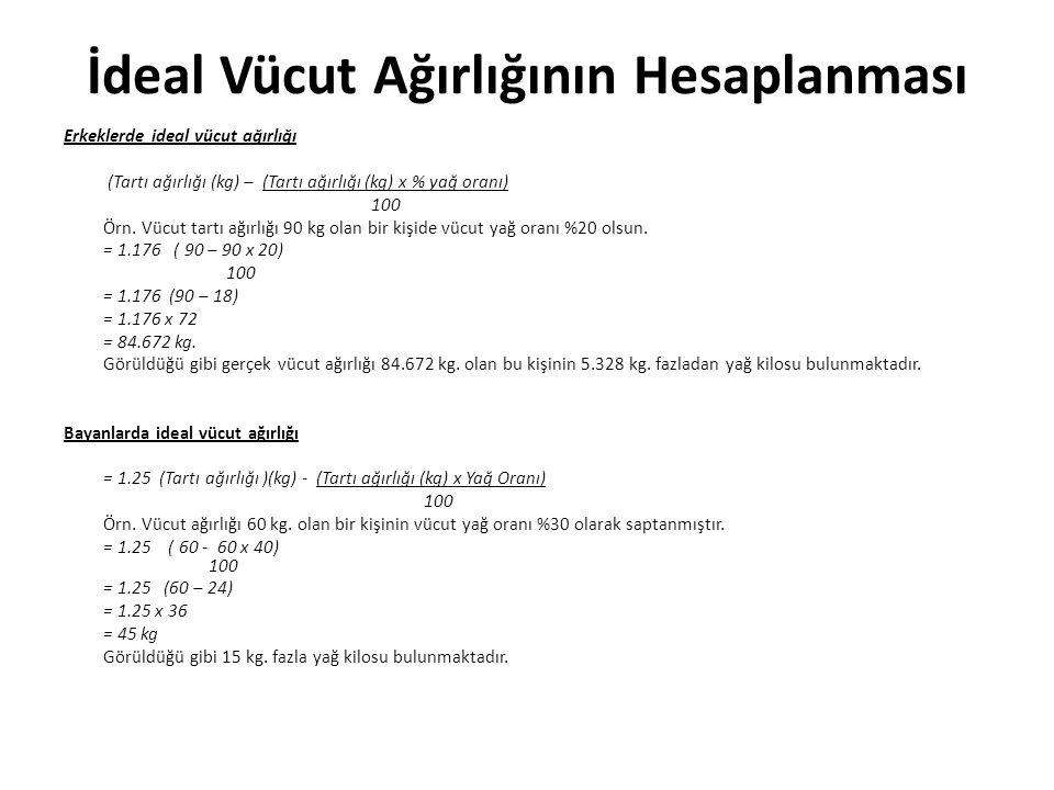 İdeal Vücut Ağırlığının Hesaplanması Erkeklerde ideal vücut ağırlığı (Tartı ağırlığı (kg) – (Tartı ağırlığı (kg) x % yağ oranı) 100 Örn.