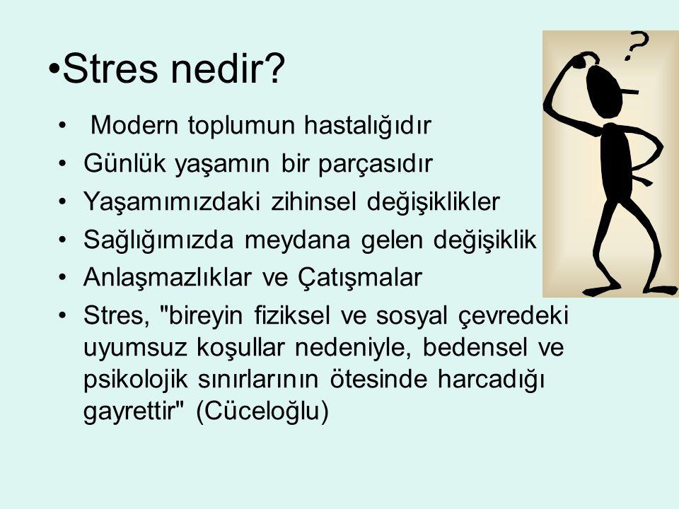Stres nedir? Modern toplumun hastalığıdır Günlük yaşamın bir parçasıdır Yaşamımızdaki zihinsel değişiklikler Sağlığımızda meydana gelen değişiklik Anl
