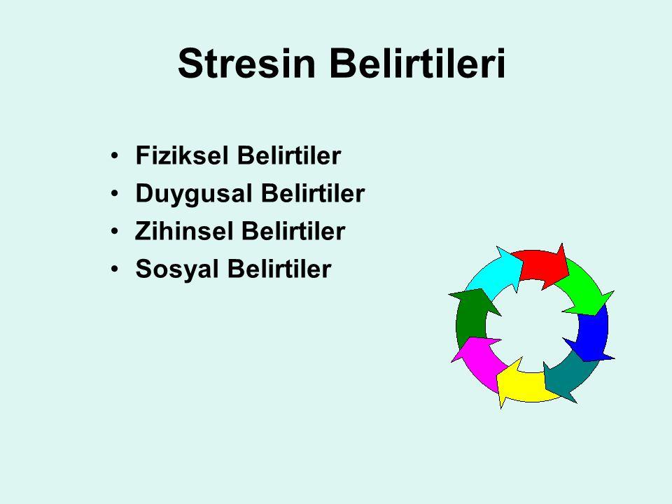 Stresin Belirtileri Fiziksel Belirtiler Duygusal Belirtiler Zihinsel Belirtiler Sosyal Belirtiler