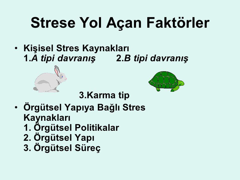 Strese Yol Açan Faktörler Kişisel Stres Kaynakları 1.A tipi davranış 2.B tipi davranış 3.Karma tip Örgütsel Yapıya Bağlı Stres Kaynakları 1. Örgütsel