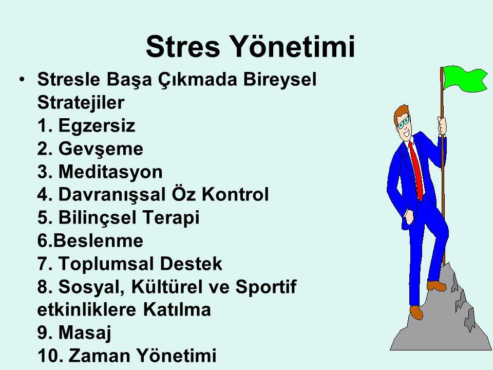 Stres Yönetimi Stresle Başa Çıkmada Bireysel Stratejiler 1. Egzersiz 2. Gevşeme 3. Meditasyon 4. Davranışsal Öz Kontrol 5. Bilinçsel Terapi 6.Beslenme