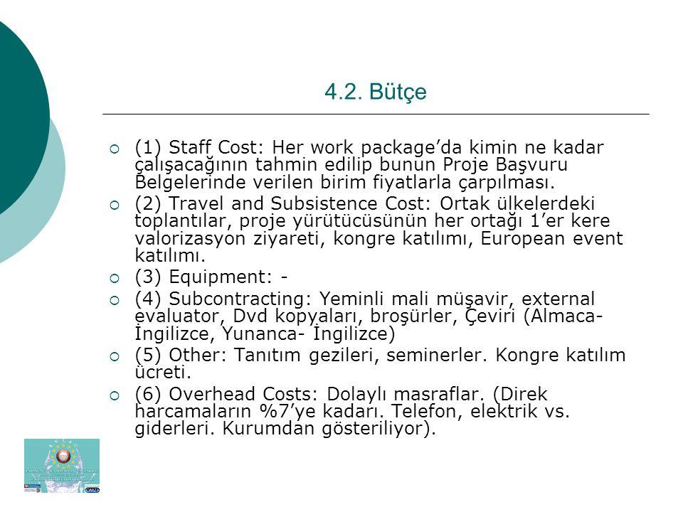 4.2. Bütçe  (1) Staff Cost: Her work package'da kimin ne kadar çalışacağının tahmin edilip bunun Proje Başvuru Belgelerinde verilen birim fiyatlarla