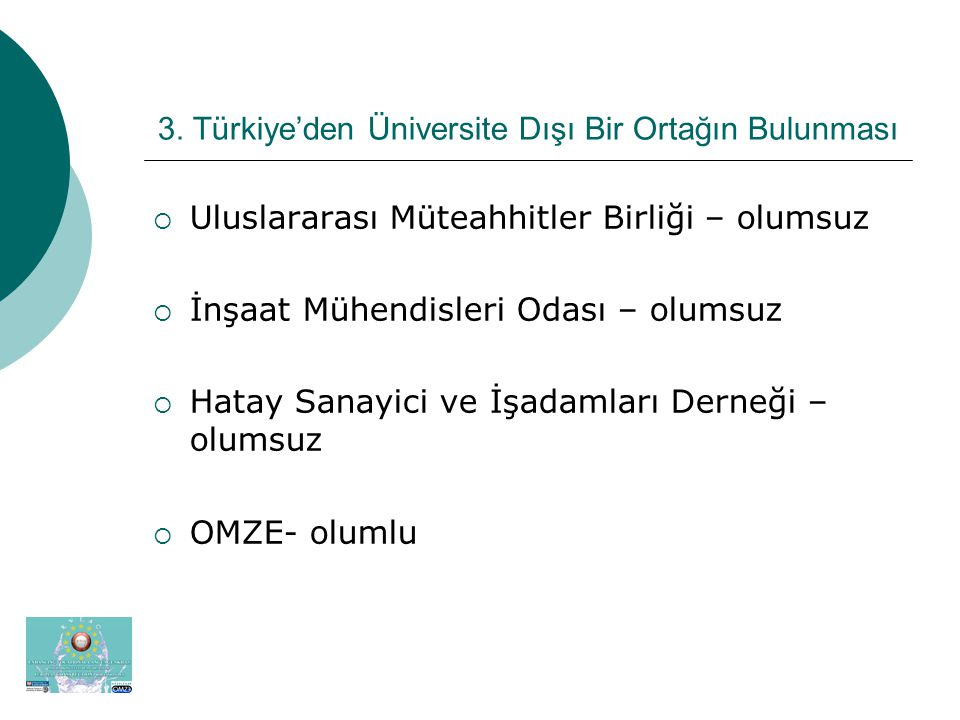 3. Türkiye'den Üniversite Dışı Bir Ortağın Bulunması  Uluslararası Müteahhitler Birliği – olumsuz  İnşaat Mühendisleri Odası – olumsuz  Hatay Sanay